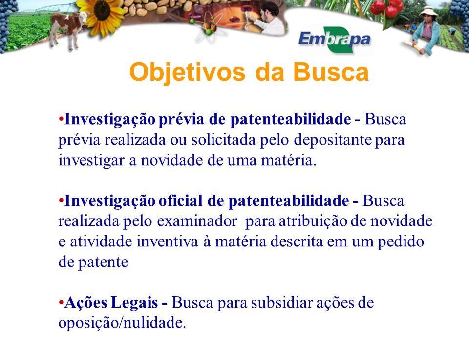 Investigação prévia de patenteabilidade - Busca prévia realizada ou solicitada pelo depositante para investigar a novidade de uma matéria. Investigaçã