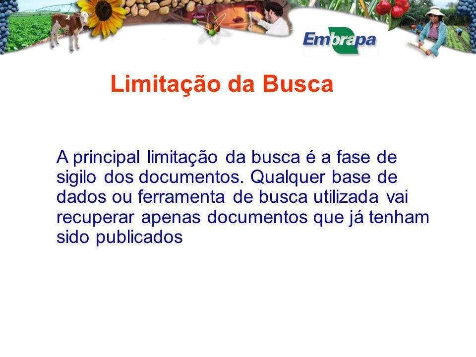 Limitação da Busca A principal limitação da busca é a fase de sigilo dos documentos.