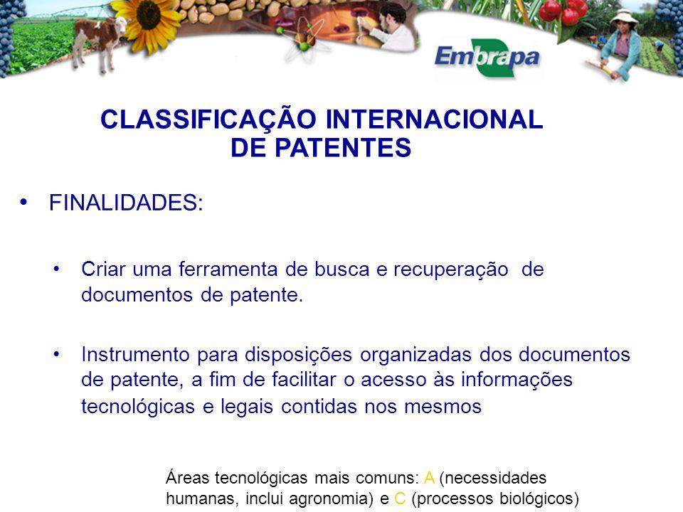 CLASSIFICAÇÃO INTERNACIONAL DE PATENTES FINALIDADES: Criar uma ferramenta de busca e recuperação de documentos de patente. Instrumento para disposiçõe