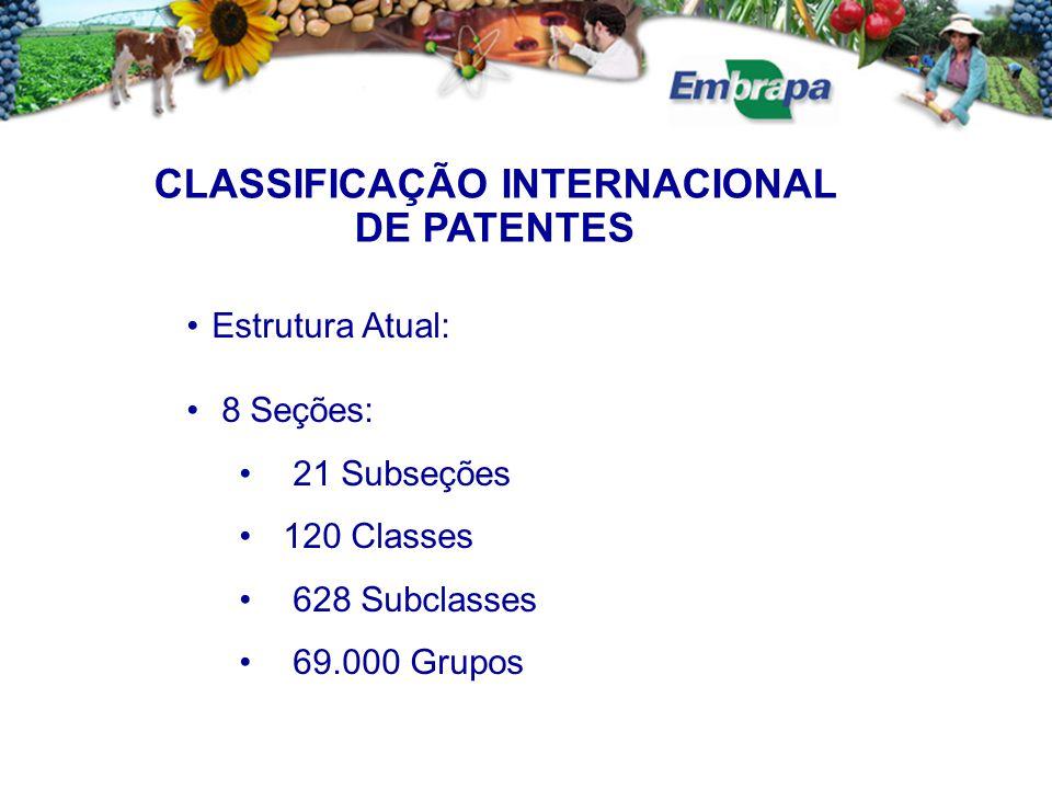 CLASSIFICAÇÃO INTERNACIONAL DE PATENTES Estrutura Atual: 8 Seções: 21 Subseções 120 Classes 628 Subclasses 69.000 Grupos