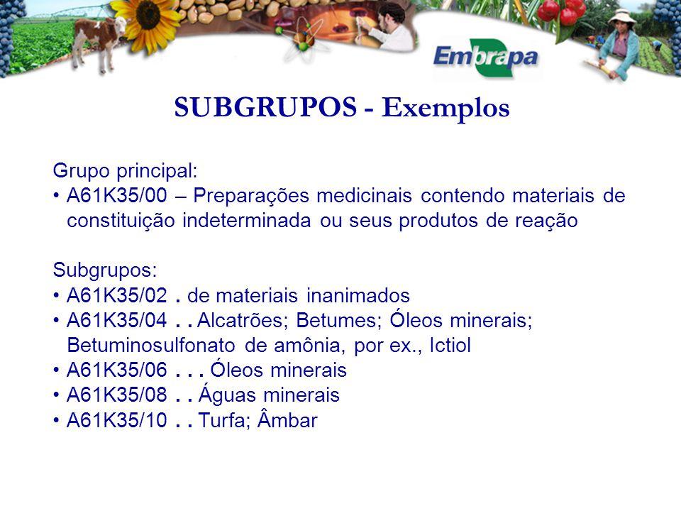 SUBGRUPOS - Exemplos Grupo principal: A61K35/00 – Preparações medicinais contendo materiais de constituição indeterminada ou seus produtos de reação Subgrupos: A61K35/02.