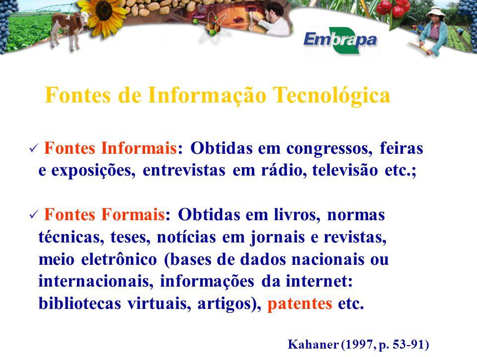 Fontes Informais: Obtidas em congressos, feiras e exposições, entrevistas em rádio, televisão etc.; Fontes Formais: Obtidas em livros, normas técnicas