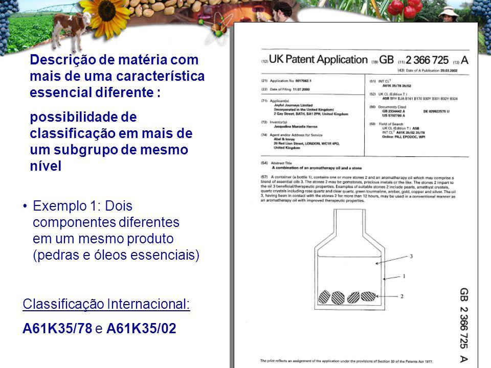 Exemplo 1: Dois componentes diferentes em um mesmo produto (pedras e óleos essenciais) Classificação Internacional: A61K35/78 e A61K35/02 Descrição de matéria com mais de uma característica essencial diferente : possibilidade de classificação em mais de um subgrupo de mesmo nível