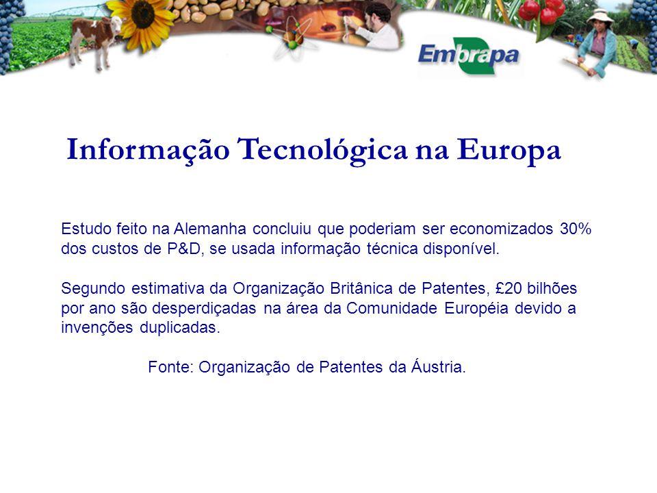 Patentes INFORMAÇÃO TECNOLÓGICA PROTEÇÃO DAS INOVAÇÕES  Subsidiar pesquisas  Reproduzir invenções não patenteadas no Brasil  Conhecer a concorrência  Produtos e processos novos e estratégicos para a EMBRAPA  Evitar violação de patentes de terceiros  Evitar violação de patentes da EMBRAPA Uso de informação patentária