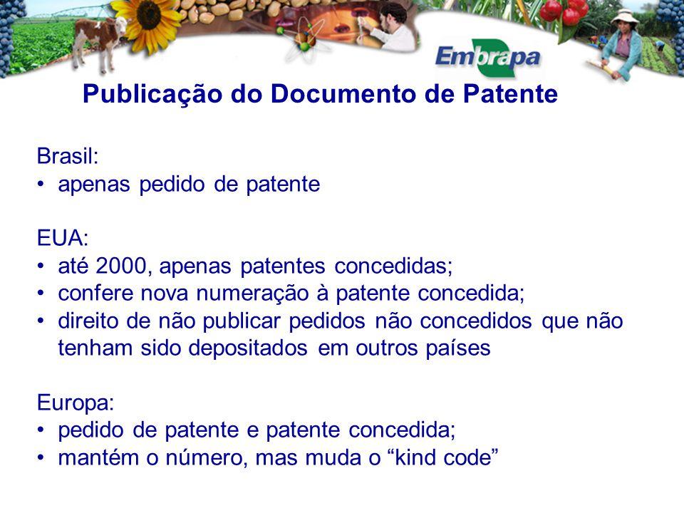 Brasil: apenas pedido de patente EUA: até 2000, apenas patentes concedidas; confere nova numeração à patente concedida; direito de não publicar pedidos não concedidos que não tenham sido depositados em outros países Europa: pedido de patente e patente concedida; mantém o número, mas muda o kind code Publicação do Documento de Patente