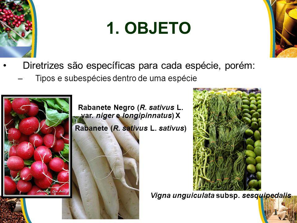 1. OBJETO Diretrizes são específicas para cada espécie, porém: –Tipos e subespécies dentro de uma espécie Vigna unguiculata subsp. sesquipedalis Raban