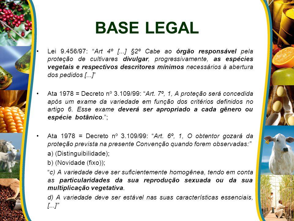 Lei 9.456/97: Art 4º [...] §2º Cabe ao órgão responsável pela proteção de cultivares divulgar, progressivamente, as espécies vegetais e respectivos descritores mínimos necessários à abertura dos pedidos [...] Ata 1978 = Decreto nº 3.109/99: Art.