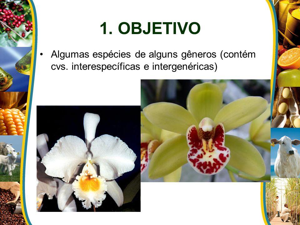1. OBJETIVO Algumas espécies de alguns gêneros (contém cvs. interespecíficas e intergenéricas)