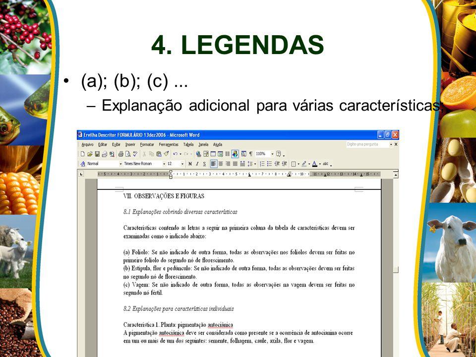 (a); (b); (c)... –Explanação adicional para várias características;