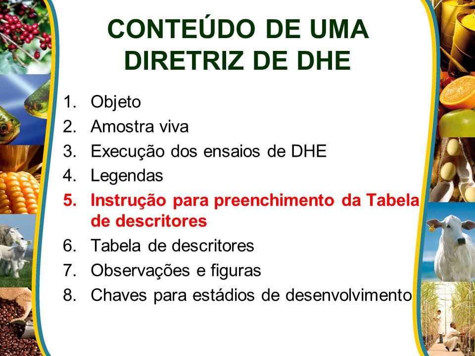 1.Objeto 2.Amostra viva 3.Execução dos ensaios de DHE 4.Legendas 5.Instrução para preenchimento da Tabela de descritores 6.Tabela de descritores 7.Obs