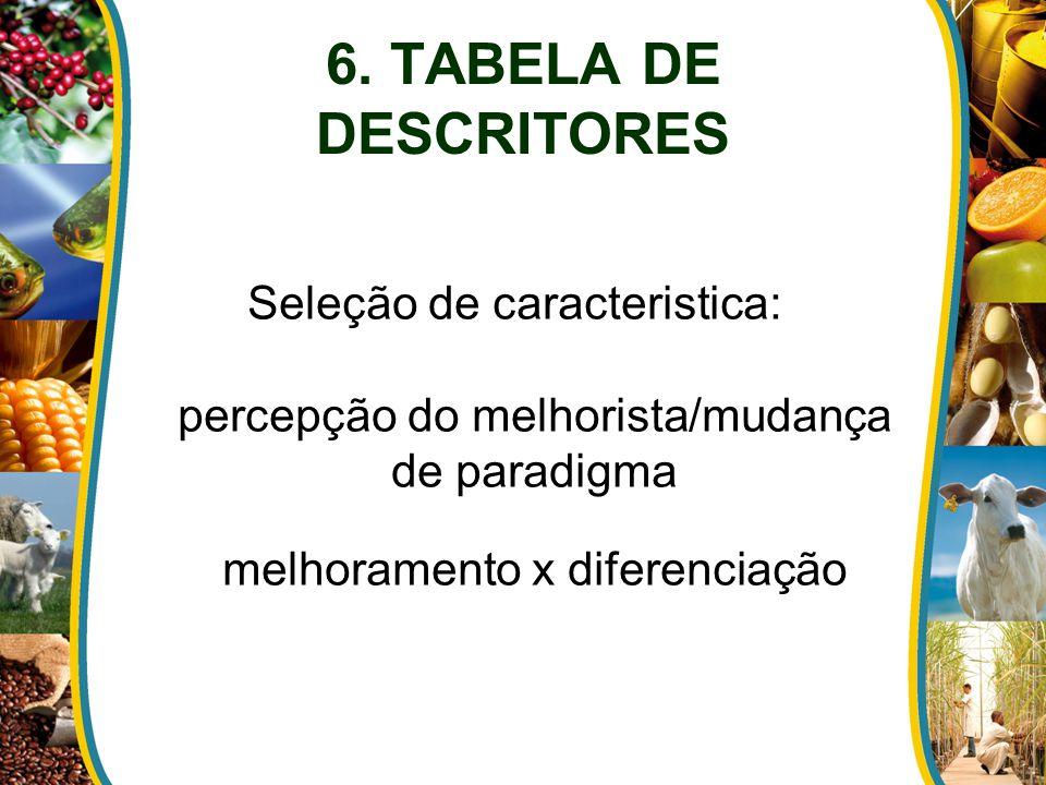 Seleção de caracteristica: percepção do melhorista/mudança de paradigma melhoramento x diferenciação 6. TABELA DE DESCRITORES