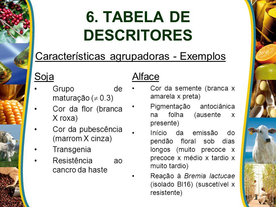 Soja Grupo de maturação (  0.3) Cor da flor (branca X roxa) Cor da pubescência (marrom X cinza) Transgenia Resistência ao cancro da haste Alface Cor