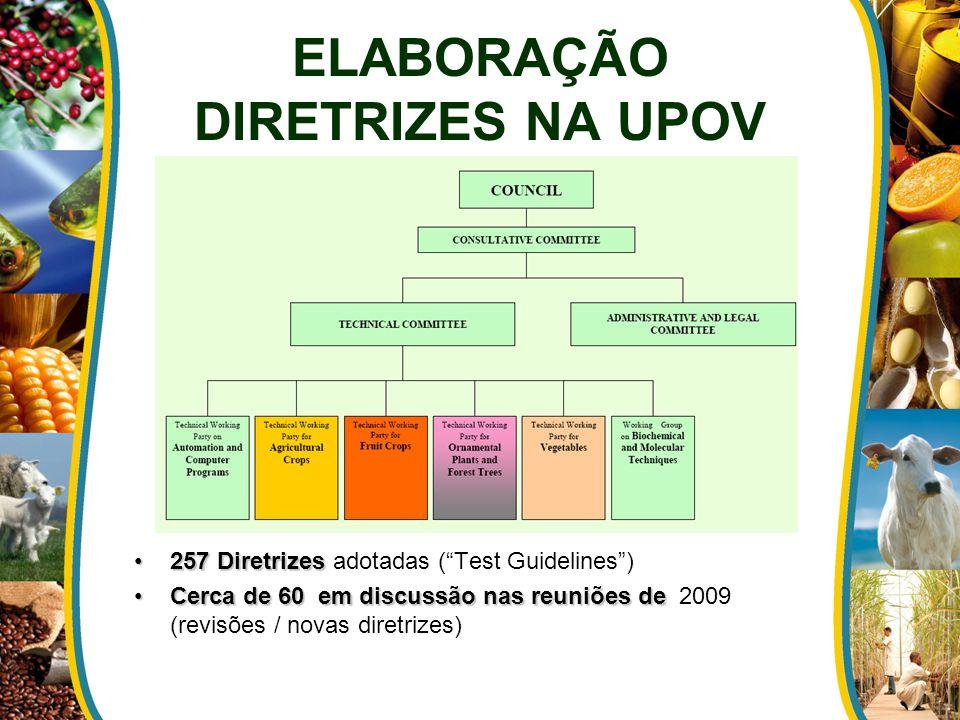 ELABORAÇÃO DIRETRIZES NA UPOV 257 Diretrizes257 Diretrizes adotadas ( Test Guidelines ) Cerca de 60 em discussão nas reuniões deCerca de 60 em discussão nas reuniões de 2009 (revisões / novas diretrizes)