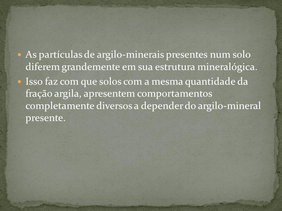 As partículas de argilo-minerais presentes num solo diferem grandemente em sua estrutura mineralógica.