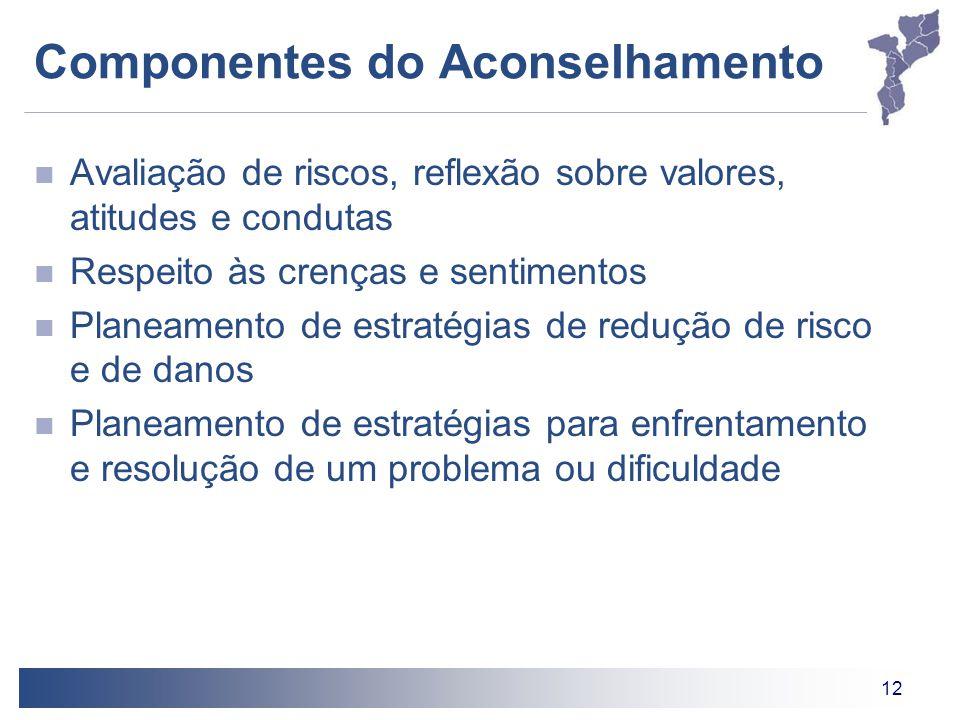 12 Componentes do Aconselhamento Avaliação de riscos, reflexão sobre valores, atitudes e condutas Respeito às crenças e sentimentos Planeamento de est
