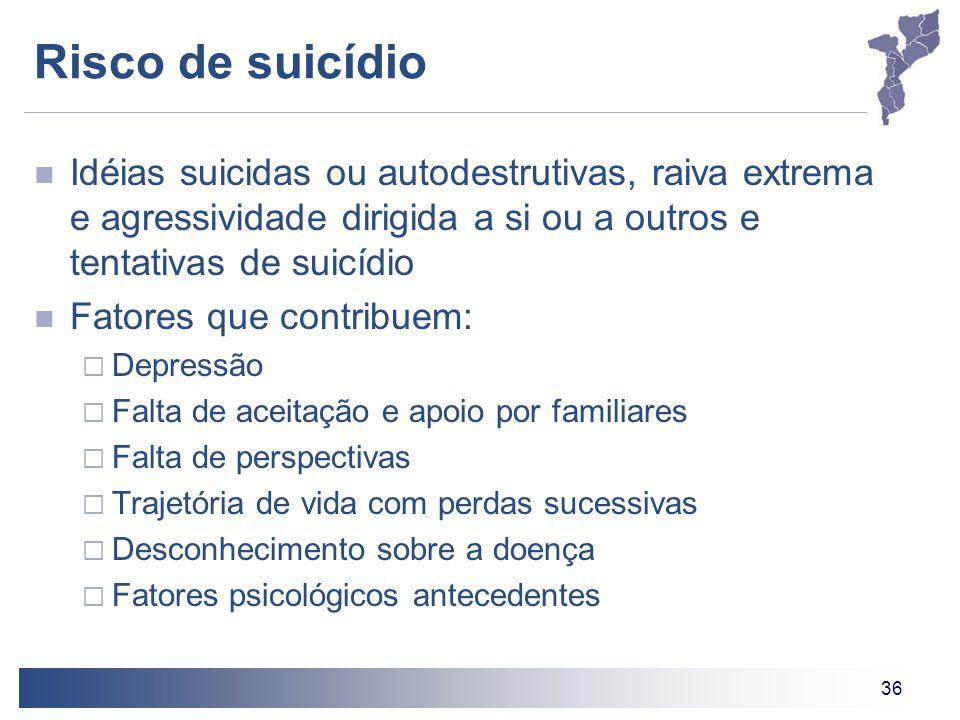 36 Risco de suicídio Idéias suicidas ou autodestrutivas, raiva extrema e agressividade dirigida a si ou a outros e tentativas de suicídio Fatores que