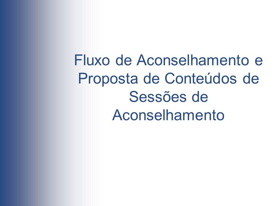 Fluxo de Aconselhamento e Proposta de Conteúdos de Sessões de Aconselhamento