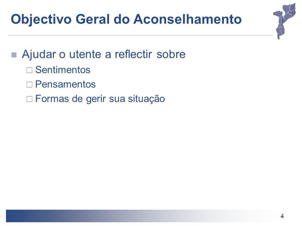 4 Objectivo Geral do Aconselhamento Ajudar o utente a reflectir sobre  Sentimentos  Pensamentos  Formas de gerir sua situação
