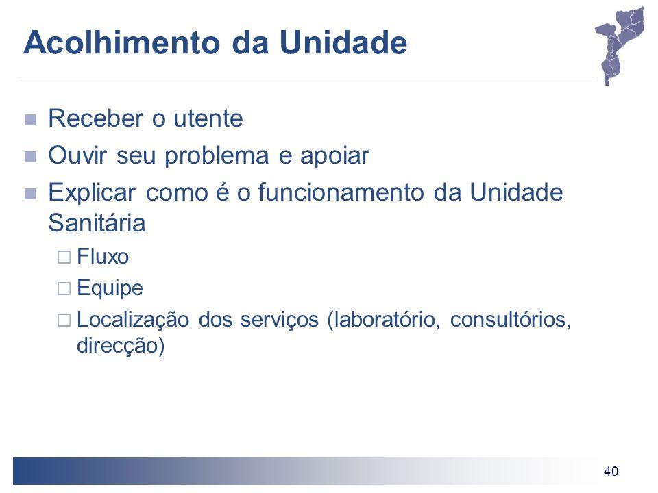 40 Acolhimento da Unidade Receber o utente Ouvir seu problema e apoiar Explicar como é o funcionamento da Unidade Sanitária  Fluxo  Equipe  Localiz