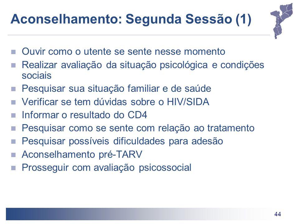 44 Aconselhamento: Segunda Sessão (1) Ouvir como o utente se sente nesse momento Realizar avaliação da situação psicológica e condições sociais Pesqui