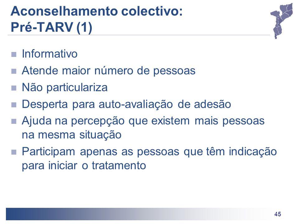 45 Aconselhamento colectivo: Pré-TARV (1) Informativo Atende maior número de pessoas Não particulariza Desperta para auto-avaliação de adesão Ajuda na