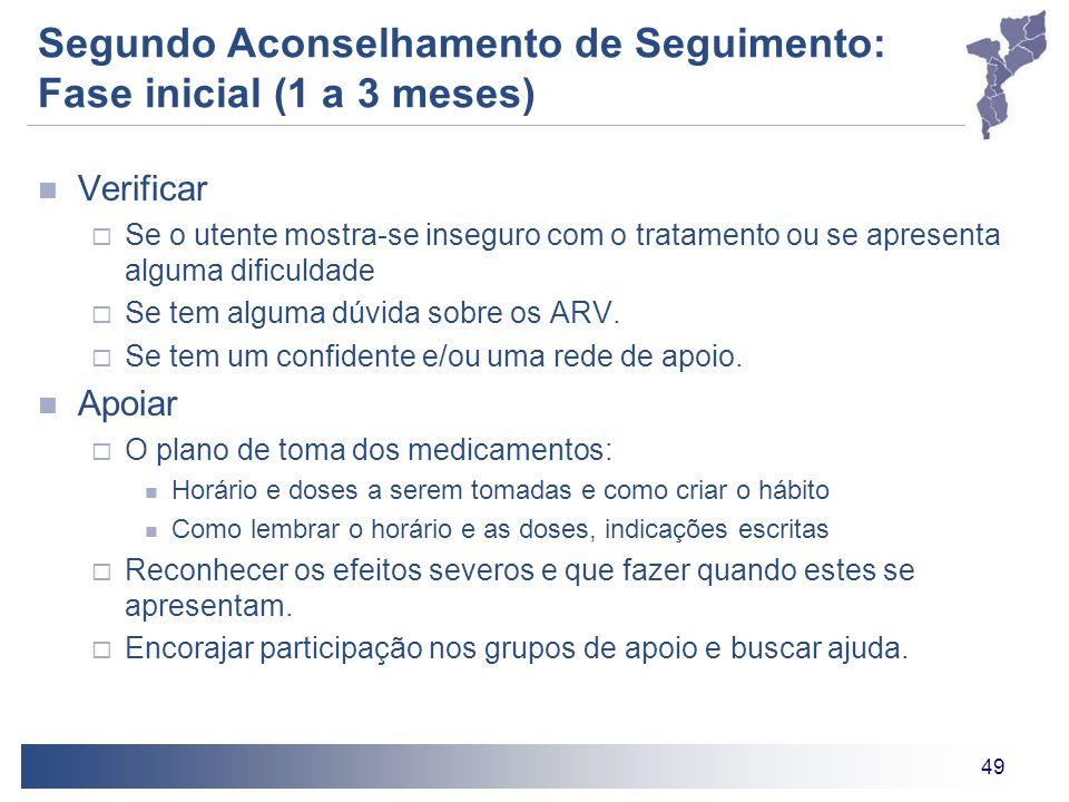 49 Segundo Aconselhamento de Seguimento: Fase inicial (1 a 3 meses) Verificar  Se o utente mostra-se inseguro com o tratamento ou se apresenta alguma