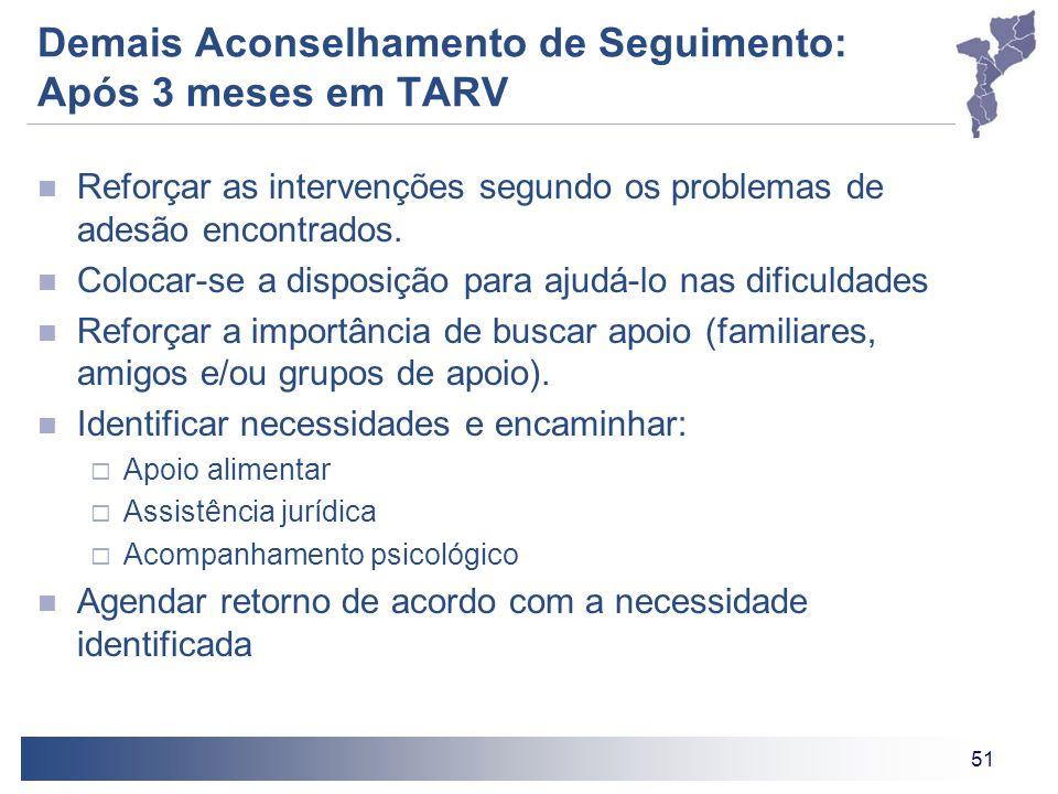 51 Demais Aconselhamento de Seguimento: Após 3 meses em TARV Reforçar as intervenções segundo os problemas de adesão encontrados.