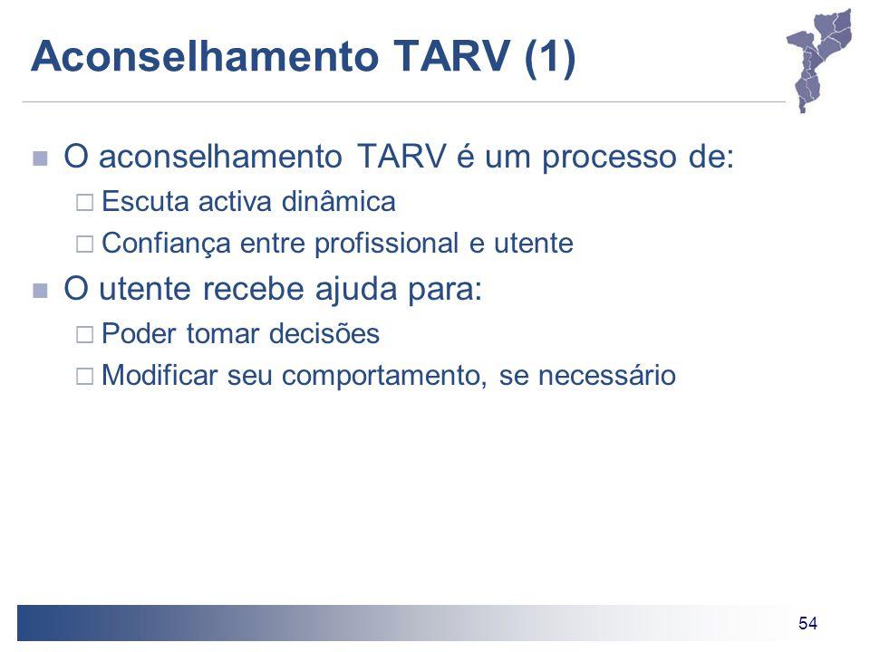 54 Aconselhamento TARV (1) O aconselhamento TARV é um processo de:  Escuta activa dinâmica  Confiança entre profissional e utente O utente recebe aj
