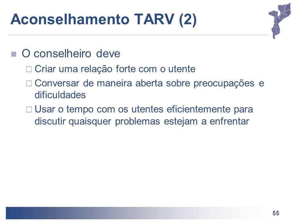 55 Aconselhamento TARV (2) O conselheiro deve  Criar uma relação forte com o utente  Conversar de maneira aberta sobre preocupações e dificuldades  Usar o tempo com os utentes eficientemente para discutir quaisquer problemas estejam a enfrentar