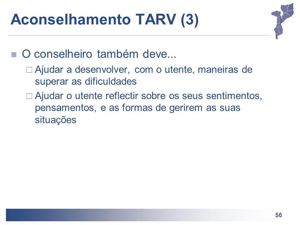56 Aconselhamento TARV (3) O conselheiro também deve...  Ajudar a desenvolver, com o utente, maneiras de superar as dificuldades  Ajudar o utente re