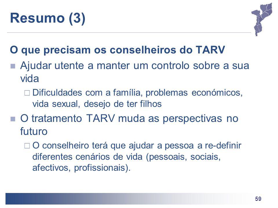 59 Resumo (3) O que precisam os conselheiros do TARV Ajudar utente a manter um controlo sobre a sua vida  Dificuldades com a família, problemas econó