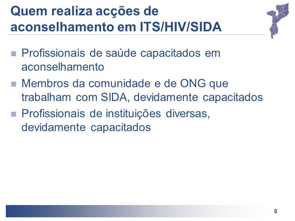 9 Quem realiza acções de aconselhamento em ITS/HIV/SIDA Profissionais de saúde capacitados em aconselhamento Membros da comunidade e de ONG que trabal