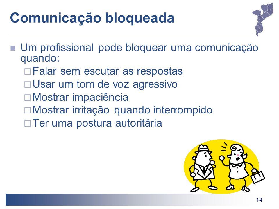 14 Comunicação bloqueada Um profissional pode bloquear uma comunicação quando:  Falar sem escutar as respostas  Usar um tom de voz agressivo  Mostr