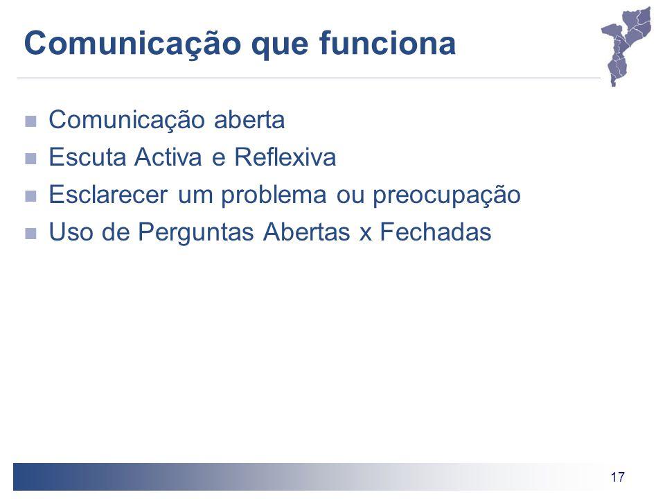17 Comunicação que funciona Comunicação aberta Escuta Activa e Reflexiva Esclarecer um problema ou preocupação Uso de Perguntas Abertas x Fechadas