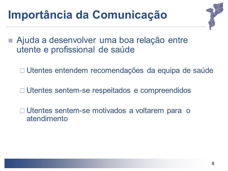 6 Importância da Comunicação Ajuda a desenvolver uma boa relação entre utente e profissional de saúde  Utentes entendem recomendações da equipa de sa