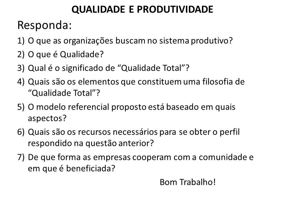 QUALIDADE E PRODUTIVIDADE Responda: 1)O que as organizações buscam no sistema produtivo.