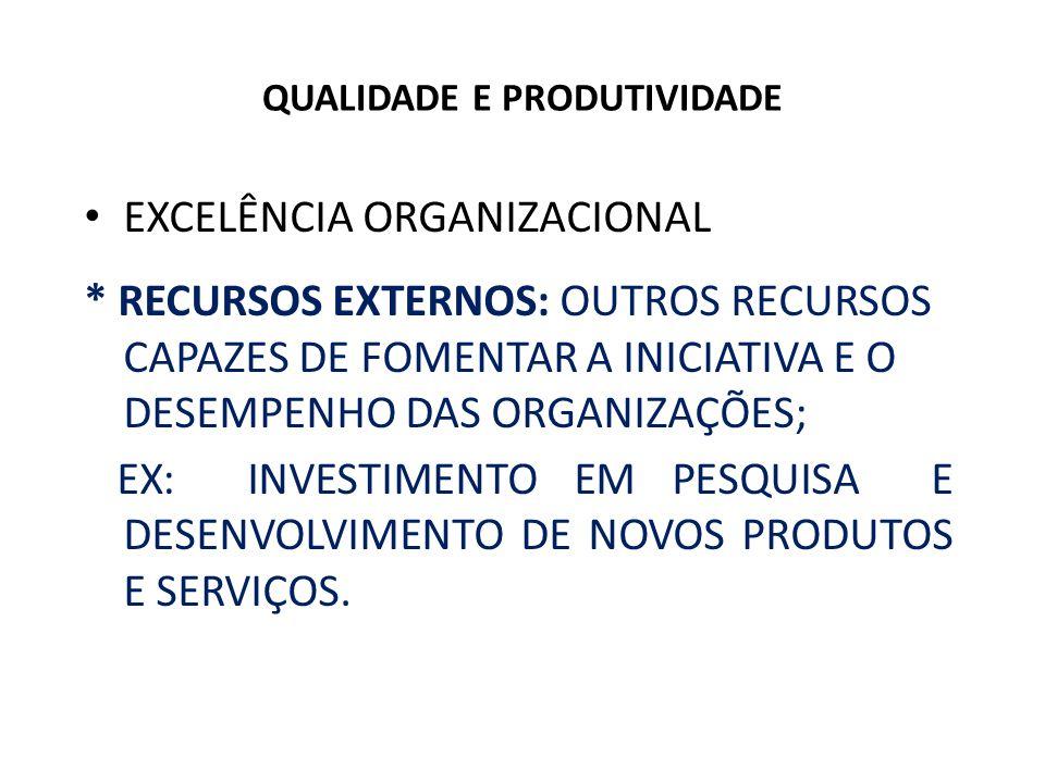 QUALIDADE E PRODUTIVIDADE Satisfação dos stakeholders - Clientes: quem adquire o produto e/ou serviço para o consumo próprio ou para comercialização.