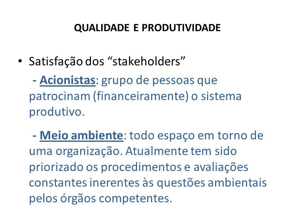 QUALIDADE E PRODUTIVIDADE Satisfação dos stakeholders - Acionistas: grupo de pessoas que patrocinam (financeiramente) o sistema produtivo.