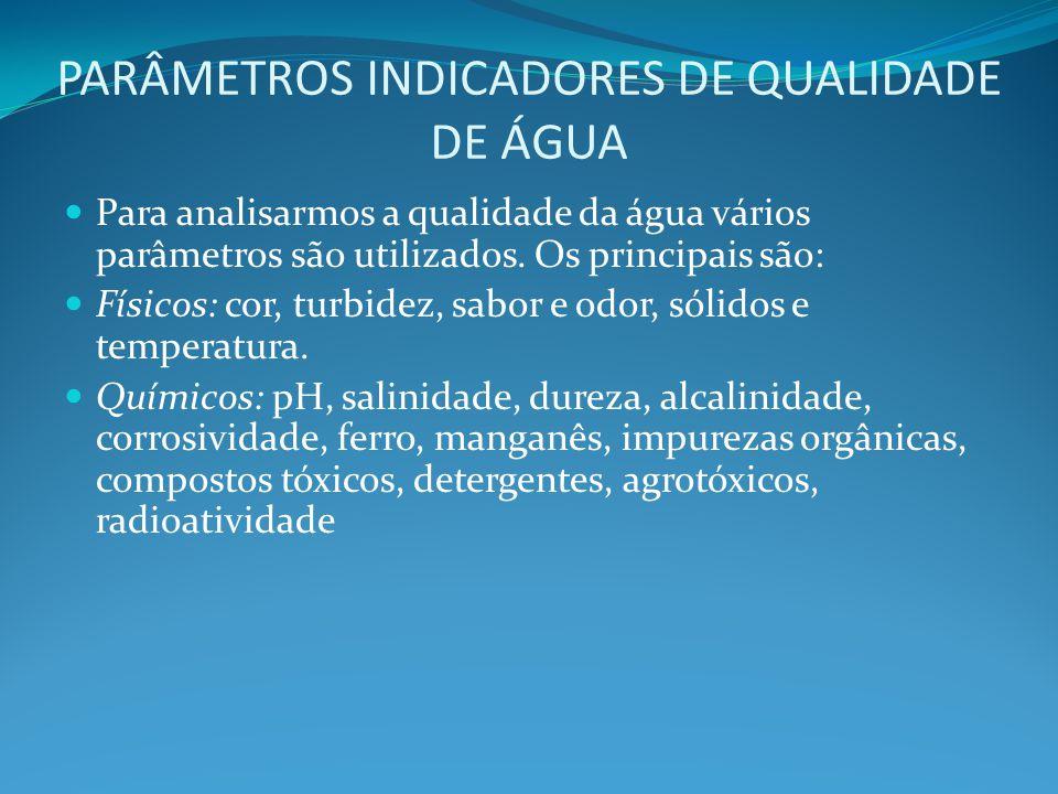 PARÂMETROS INDICADORES DE QUALIDADE DE ÁGUA Para analisarmos a qualidade da água vários parâmetros são utilizados. Os principais são: Físicos: cor, tu