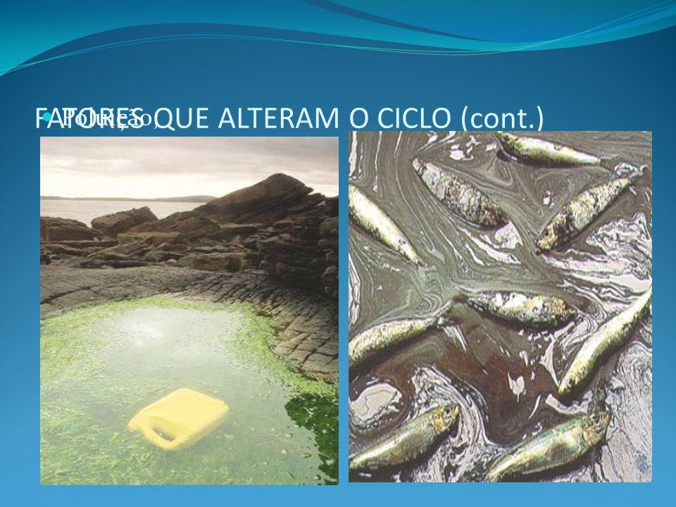 PARÂMETROS INDICADORES DE QUALIDADE DE ÁGUA (CONT.) Biológicos: algas, DBO (quantidade de matéria orgânica), nitrogênio, OD (teores adequados para a manutenção da vida), microorganismos patogênicos e o grupo coliforme fecal caracterizado pela Escherichia coli.