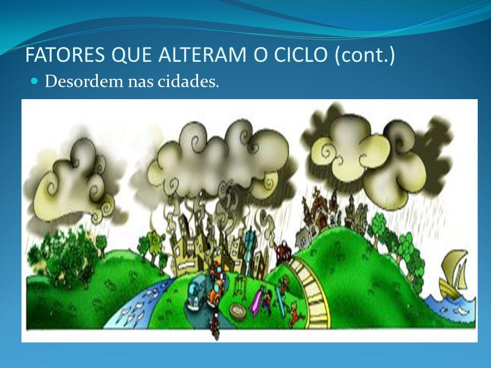 FATORES QUE ALTERAM O CICLO (cont.) Desordem nas cidades.
