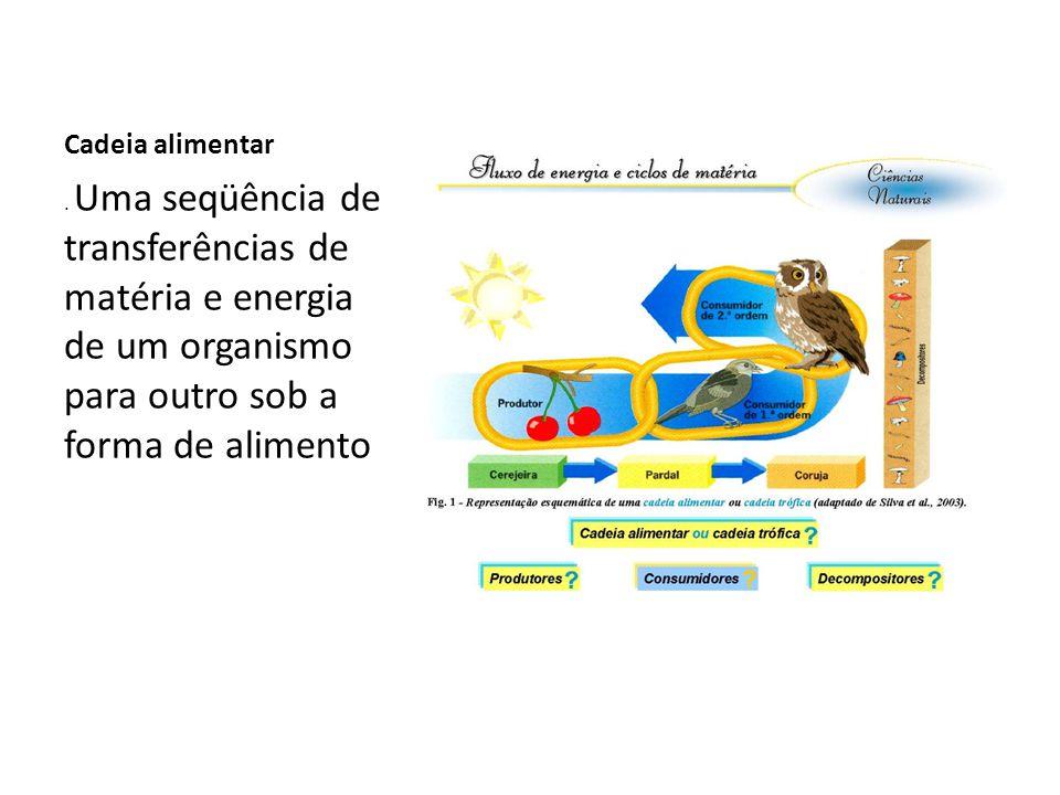 Cadeia alimentar. Uma seqüência de transferências de matéria e energia de um organismo para outro sob a forma de alimento