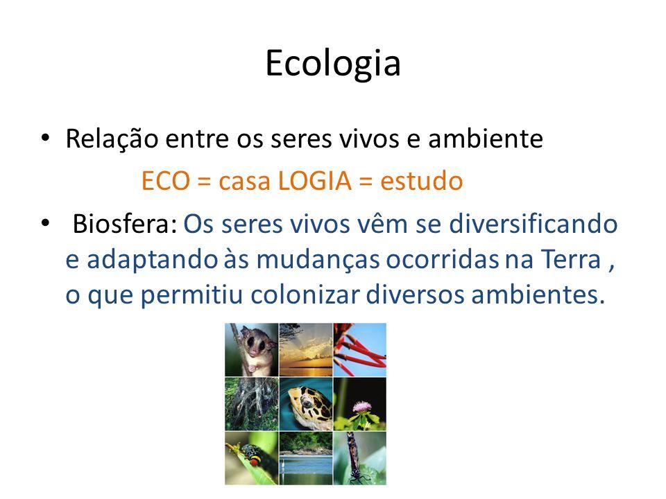Ecologia Relação entre os seres vivos e ambiente ECO = casa LOGIA = estudo Biosfera: Os seres vivos vêm se diversificando e adaptando às mudanças ocor