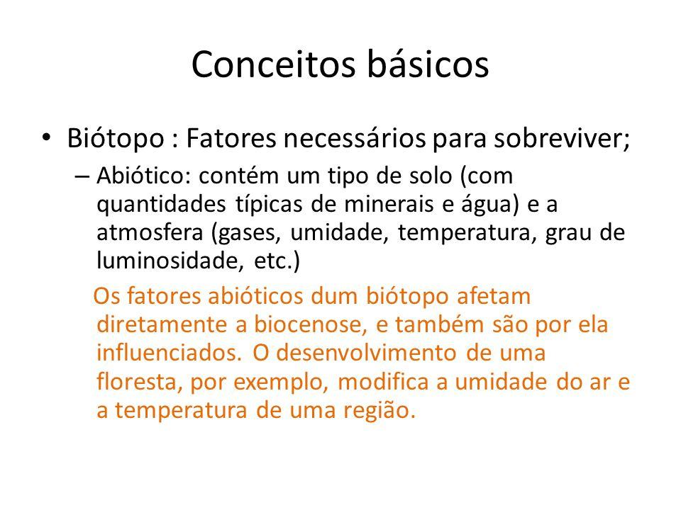 Conceitos básicos Biótopo : Fatores necessários para sobreviver; – Abiótico: contém um tipo de solo (com quantidades típicas de minerais e água) e a atmosfera (gases, umidade, temperatura, grau de luminosidade, etc.) Os fatores abióticos dum biótopo afetam diretamente a biocenose, e também são por ela influenciados.