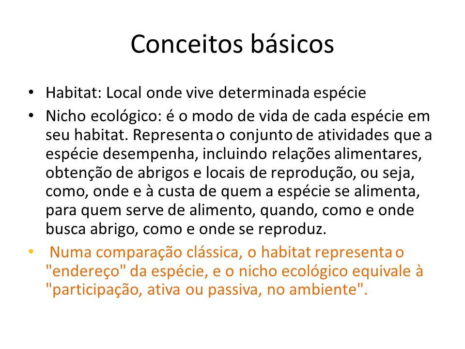 Conceitos básicos Habitat: Local onde vive determinada espécie Nicho ecológico: é o modo de vida de cada espécie em seu habitat. Representa o conjunto