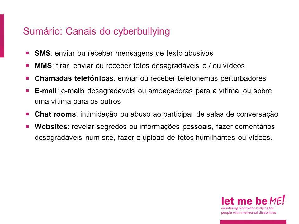 Sumário: Canais do cyberbullying  SMS: enviar ou receber mensagens de texto abusivas  MMS: tirar, enviar ou receber fotos desagradáveis  e / ou ví
