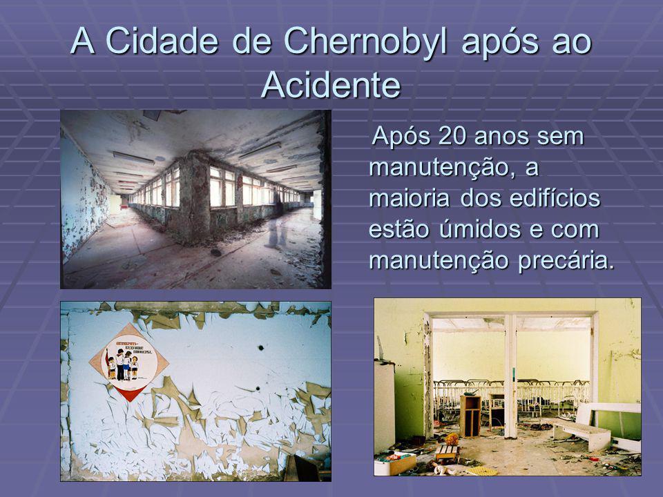 A Cidade de Chernobyl após ao Acidente Após 20 anos sem manutenção, a maioria dos edifícios estão úmidos e com manutenção precária.