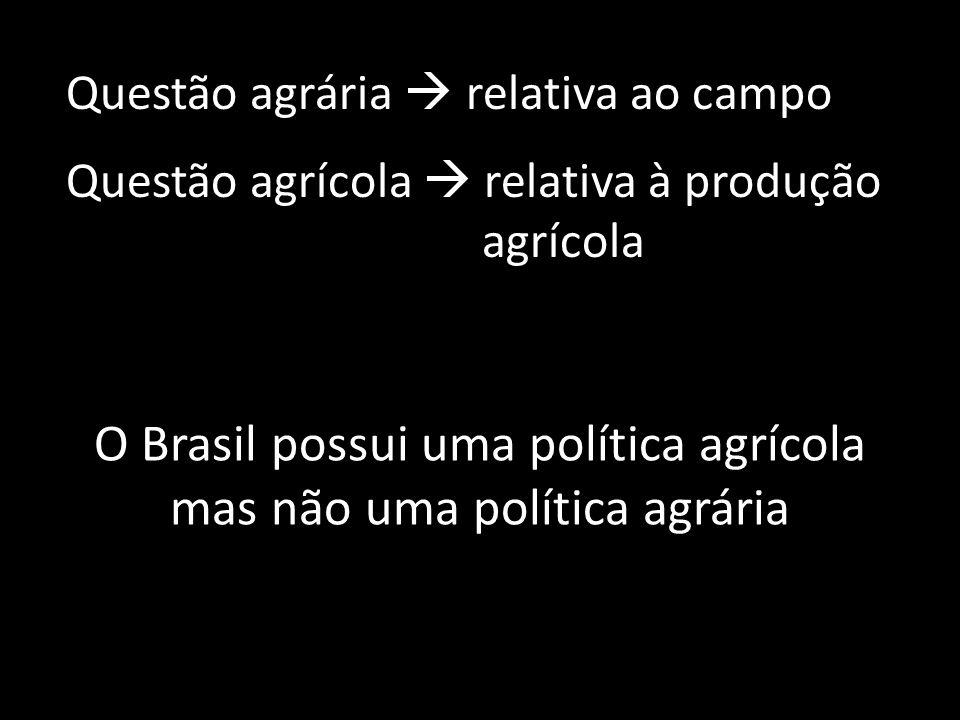 Questão agrária  relativa ao campo Questão agrícola  relativa à produção agrícola O Brasil possui uma política agrícola mas não uma política agrária