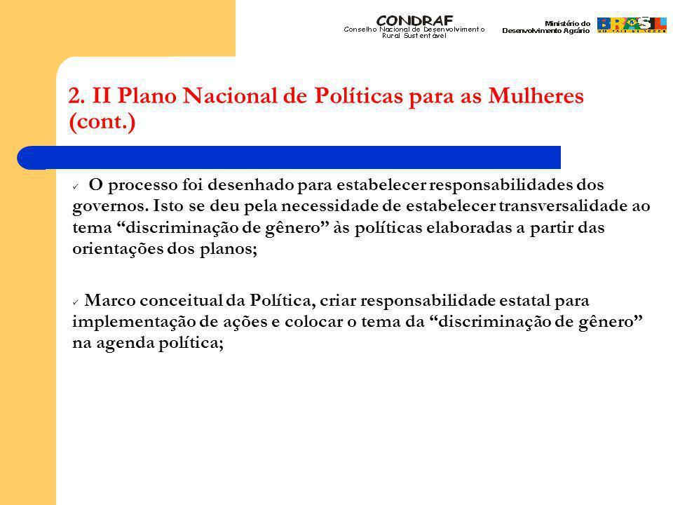 2. II Plano Nacional de Políticas para as Mulheres (cont.) O processo foi desenhado para estabelecer responsabilidades dos governos. Isto se deu pela