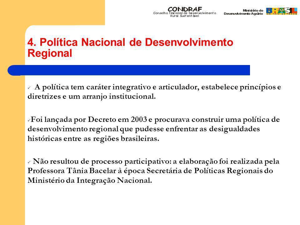 4. Política Nacional de Desenvolvimento Regional A política tem caráter integrativo e articulador, estabelece princípios e diretrizes e um arranjo ins